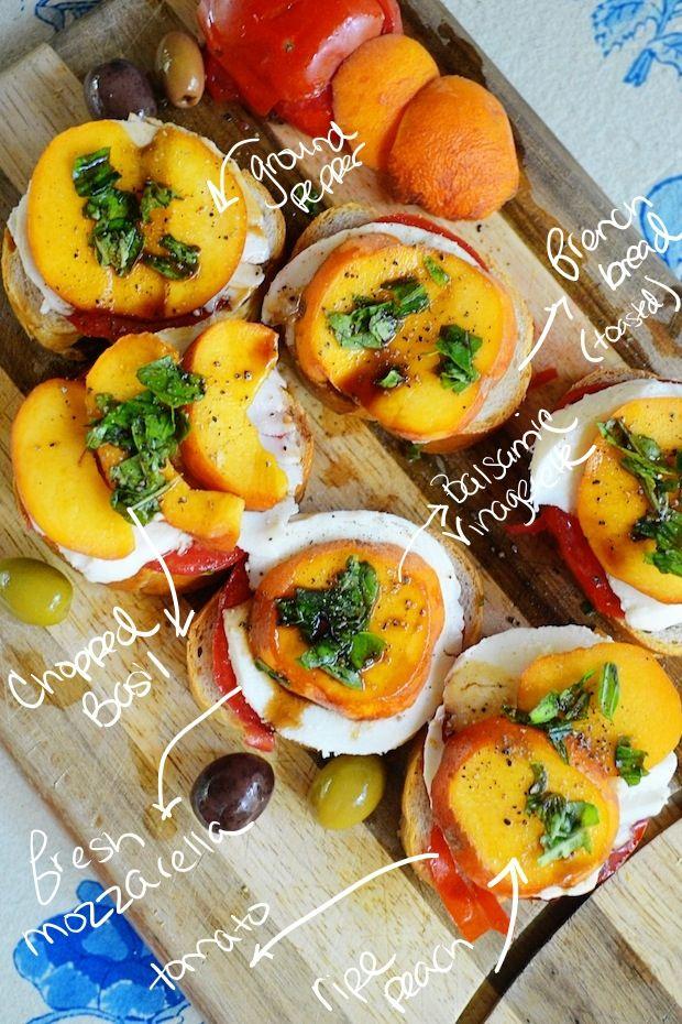 mozzarella and tomato bread peach tomato and mozzarella crostini peach ...