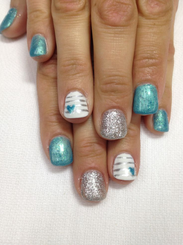 , white and silver Gel nails!! All gel is non-toxic and odorless