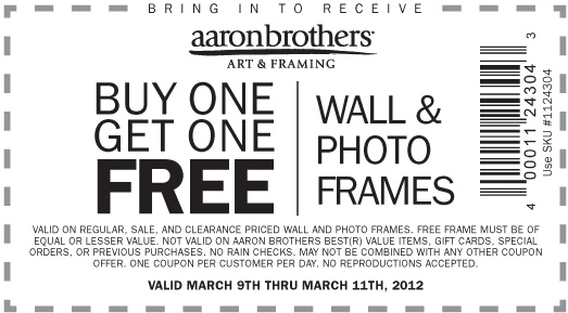 Printable Coupon For Aaron Brothers
