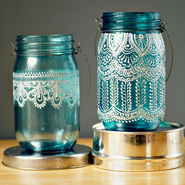 Puffy Paint + Mason Jars + Candles, for a Morrocan inspired candle holder. Love this idea!