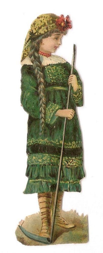 Jeune femme - - Robe Faucille Fleur  - Chromo Decoupi  - Victorian Scrap