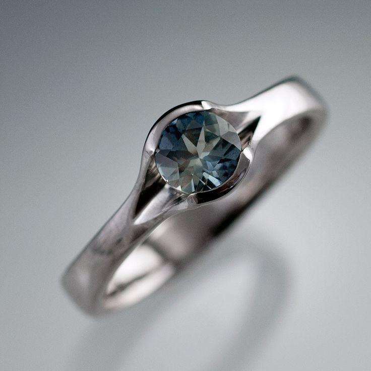 Fair Trade Teal Blue Montana Sapphire Fold Engagement Ring