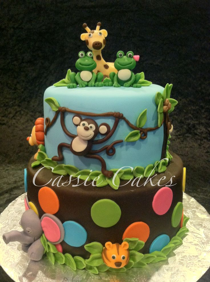 Baby Jungle Animals-Baby Shower Cake