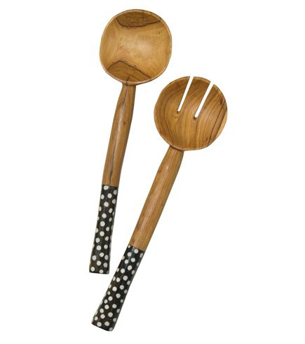 Swahili African Modern  Olivewood & Bone Salad Servers