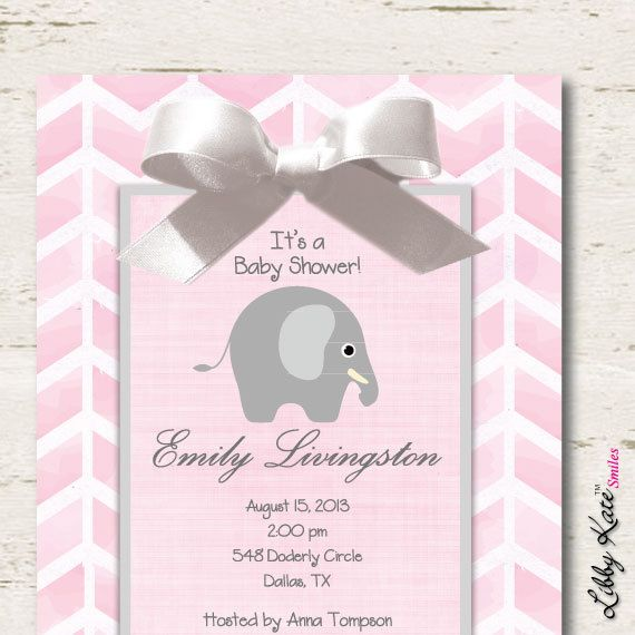 elephant baby shower invitation pink and gray chevron on etsy