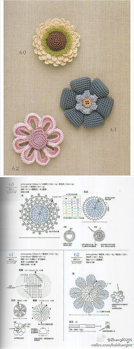 Cute crocheted flowers with diagrams!