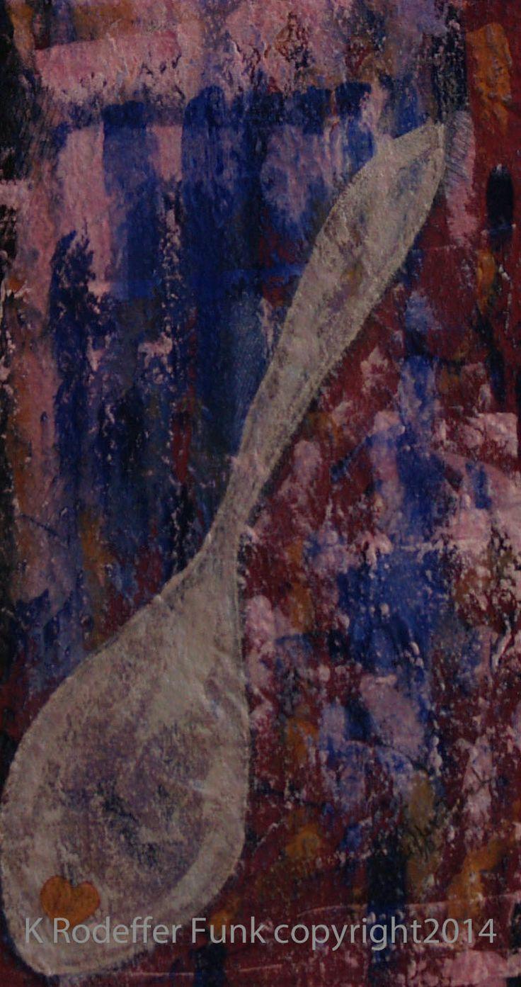 """Taste the Love"" 20x40 cm acrylic on canvas. Artist Kim Rodeffer Funk"