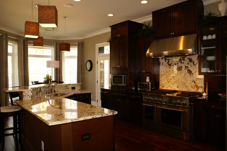 Light granite dark cabinets kitchens pinterest for Dark cabinets light granite