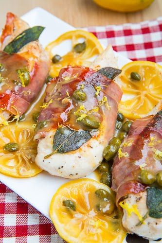 Skinny Chicken Saltimbocca. Chicken wrapped in salty prosciutto with ...