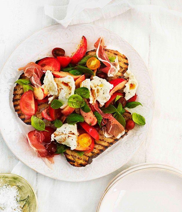Tomato, prosciutto, peach, basil and mozzarella salad on bruschetta ...