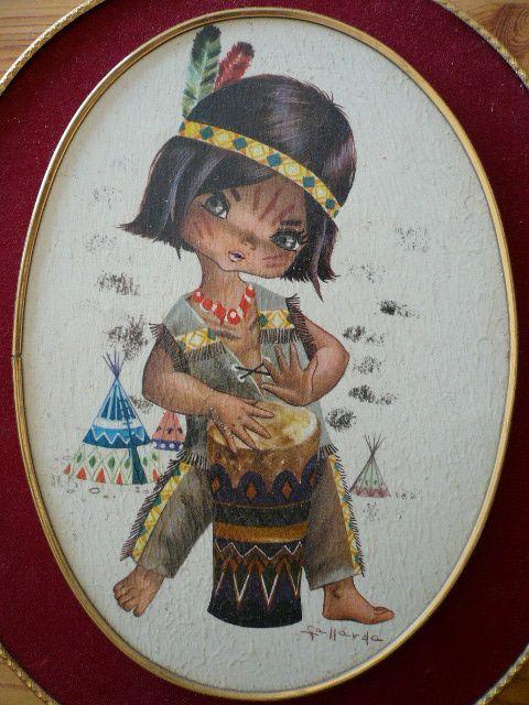 Cuadro de niño indio Años 60 -