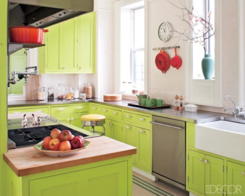 Lime green cabinets!  Kitchens  Pinterest