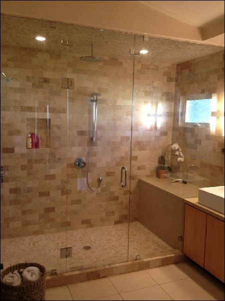Pin by marcia larson on bathroom remodel pinterest for Walk in shower without glass