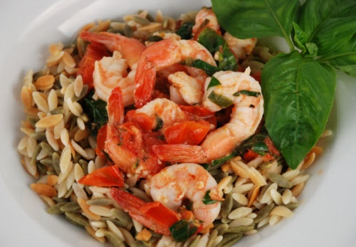 Tomato Basil Shrimp Orzo | Grub | Pinterest