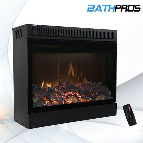 new 23 black electric firebox fireplace heater insert bath frpl 3123