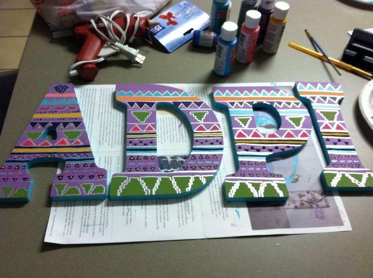 Sorority Craft Room: Tribal Print ADPi Letters