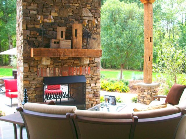 2 Sided Outdoor Fireplace Deck Patio Ideas Pinterest