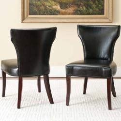 Matty Black Bicast Leather Side Chairs (Set of 2) -$418.99 (Black could be chic?)