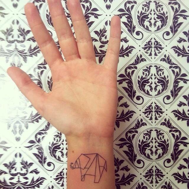 Origami elephan... Origami Elephant Tattoo
