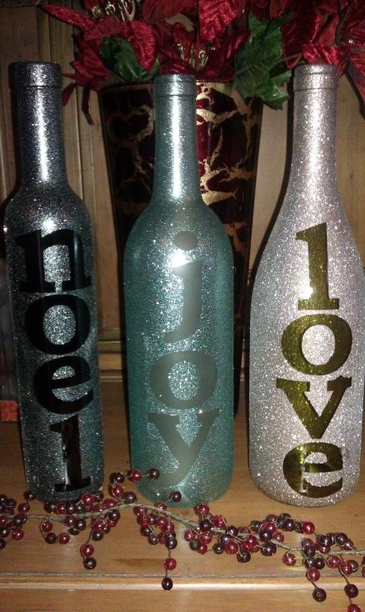 Wine bottle christmas decor christmas pinterest for Christmas bottle decoration ideas
