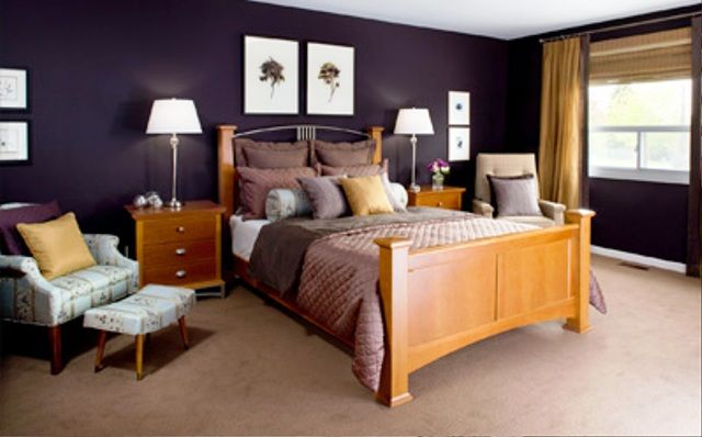 mustard yellow as an accent colour for our purple and brown bedroom