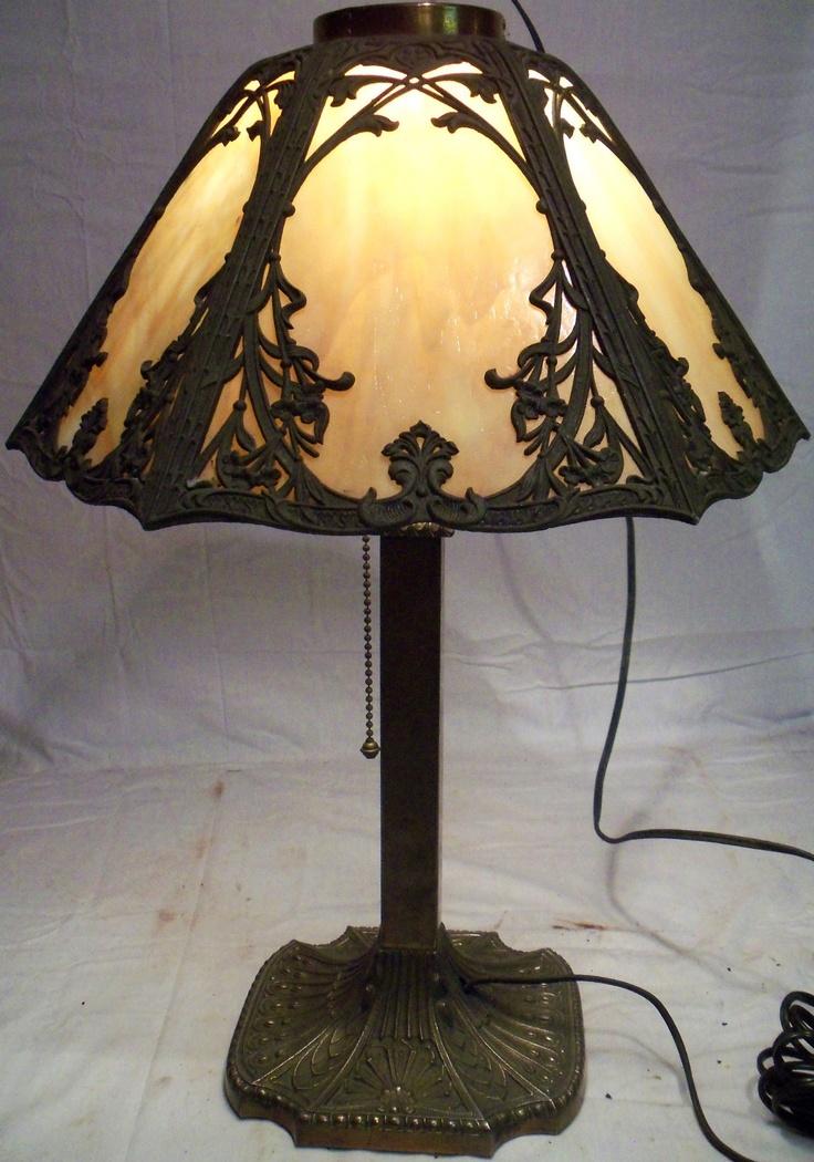 antique victorian old miller slag stained glass shade table lamp light. Black Bedroom Furniture Sets. Home Design Ideas