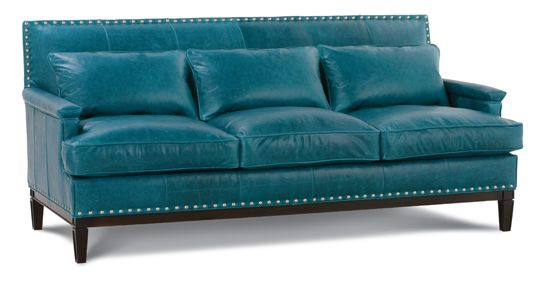 Leather sofa in teal awesome home sweet home pinterest for Teal leather couch