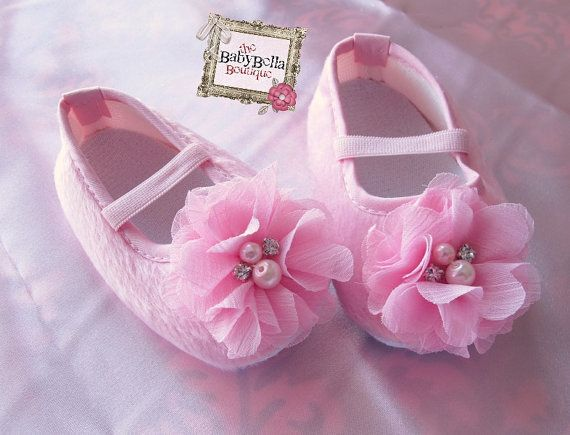 Baby Girl Pink Crib Shoes flower baby booties soft sole