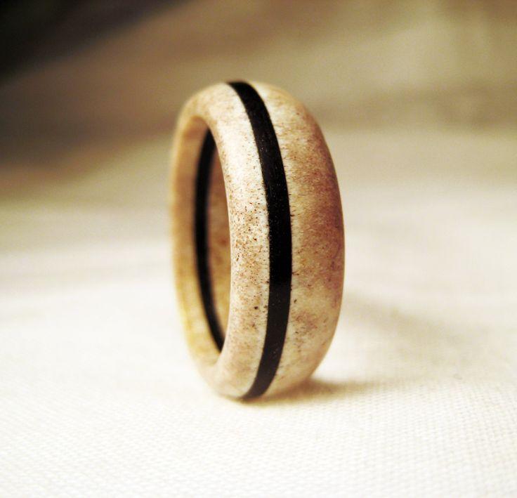 Deer Antler Ring  Bone Ring With Black Wood Veneer. Girl Gold Rings. Soon Engagement Rings. Curved Wedding Rings. Affordable Engagement Rings. Upgraded Engagement Rings. Simplistic Rings. Kyanite Rings. First Child Engagement Rings