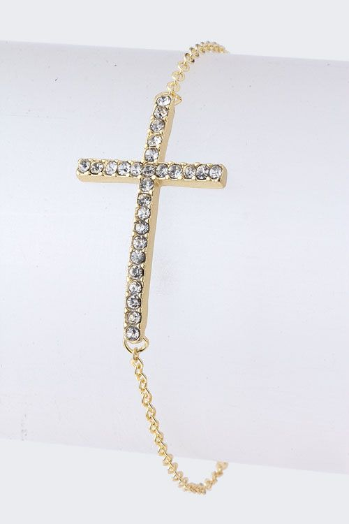 Golden Crystal Cross Bracelet.