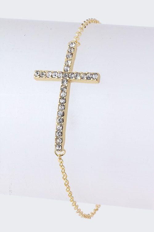 Golden Crystal Cross Bracelet.