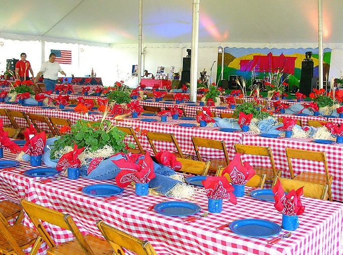 Western theme party table setting teacher appreciation for Party table setting