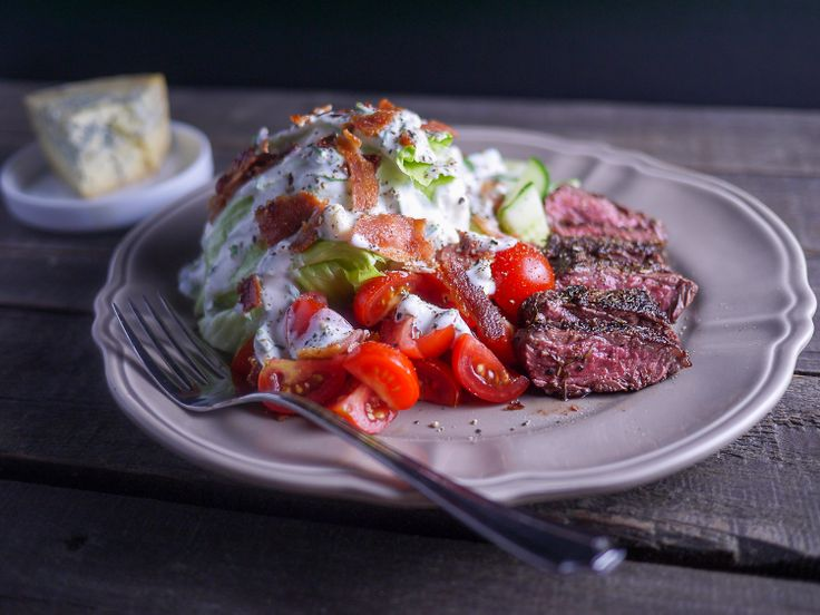 ... Wedge Salad with Skirt Steak and a Greek Yogurt Blue Cheese Dressing