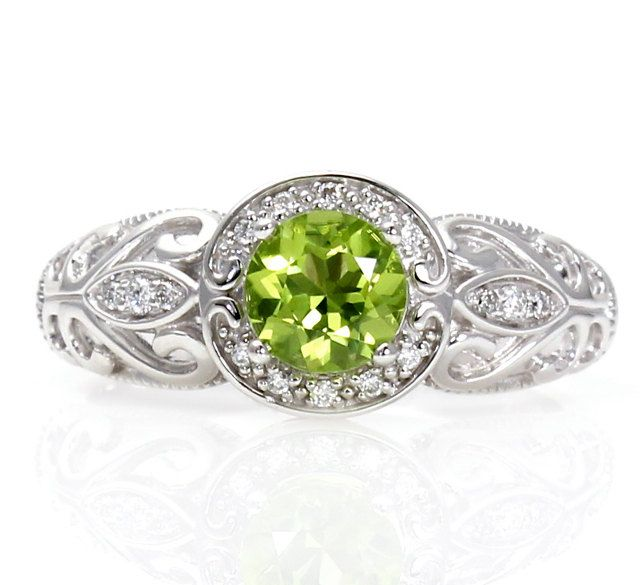 14k vintage peridot engagement ring halo