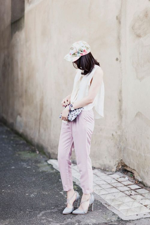 girly outfit w/ floral ballcap