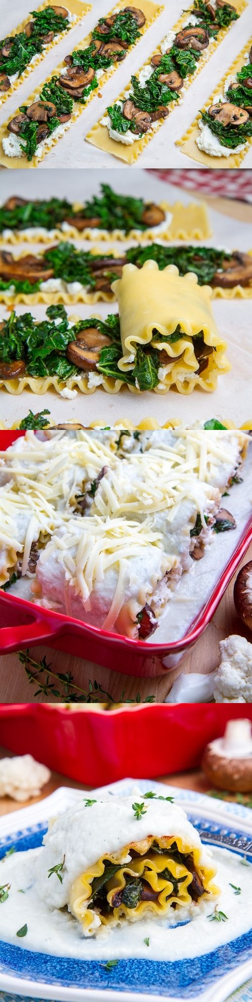 Mushroom and Kale Lasagna Roll Ups in Creamy Gorgonzola Cauliflower Sauce