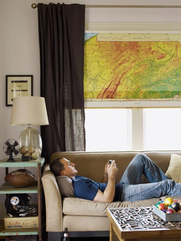 Hang map as window shade.