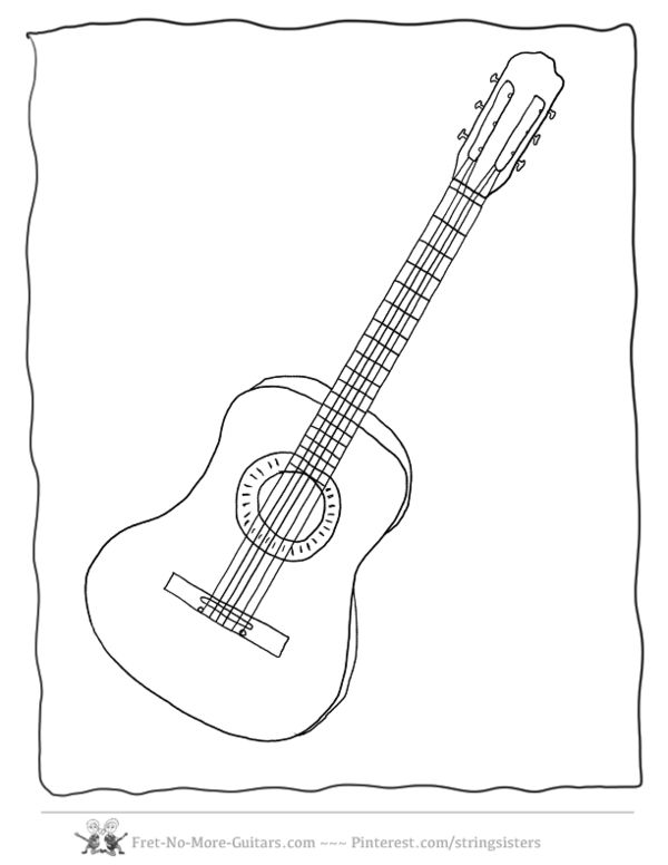 Coloring Page Guitar Printable Pages