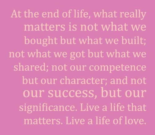 At the end of life...