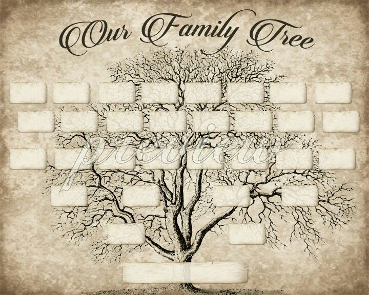 DIY Printable Family Tree PDF Template 8x10, Type in your names - family tree example