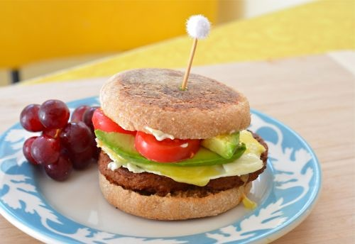 ... Egg Sandwich on Whole Wheat English Muffin w/ Cheddar, Avocado and