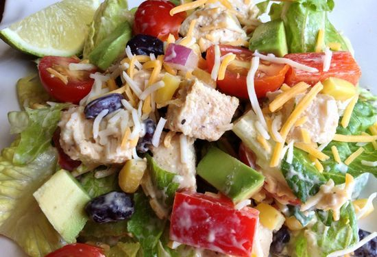 Chicken Taco Salad with Chipotle Avocado Dressing on MyRecipeMagic.com