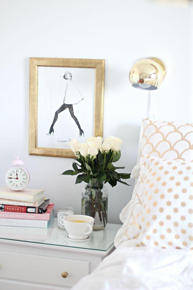 white & gold.  Side table vignette.