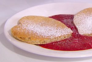 ... Shaped Whole-Wheat Pancakes with Strawberry Sauce from FoodNetwork.com