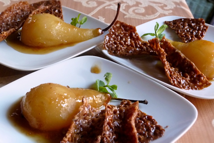 Marsala Poached Pears with Almond Crisp