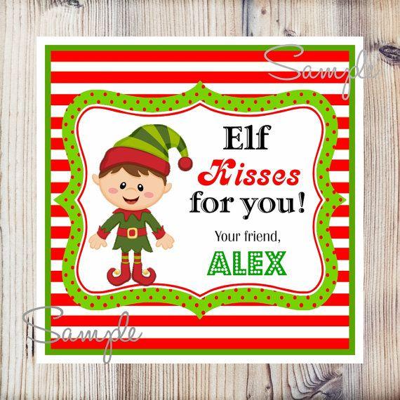 Printable Christmas Gift Tags, Elf Personalized Tags, Printable Stick ...