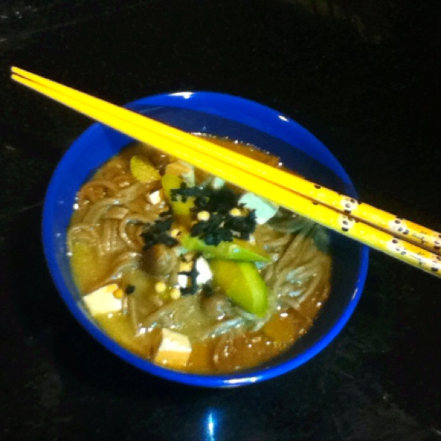 ... ginger miso soup, asparagus, tofu, and mushrooms topped with seaweed