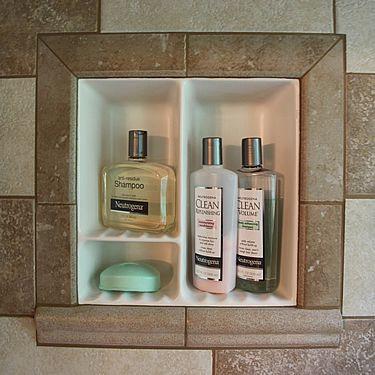 ceramic pre made recessed shower shelf bathroom pinterest. Black Bedroom Furniture Sets. Home Design Ideas