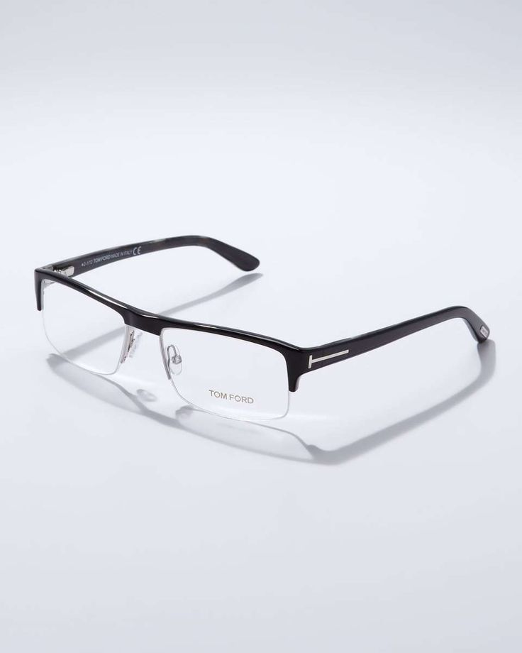 Tom Ford Acetate Half-Frame Fashion Glasses, Black