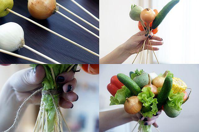 Букет из овощей и фруктов своими руками пошаговое фото для начинающих 65